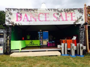 The DanceSafe booth at TomorrowWorld, where we provide information but no on site testing or kits for sale.